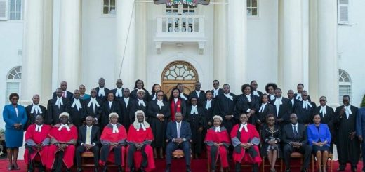 President Uhuru Kenya and the Judges during the swearing in