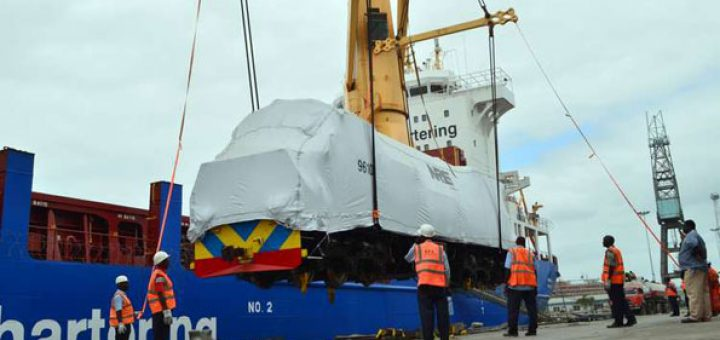 Locomotives arrive at Mombasa port